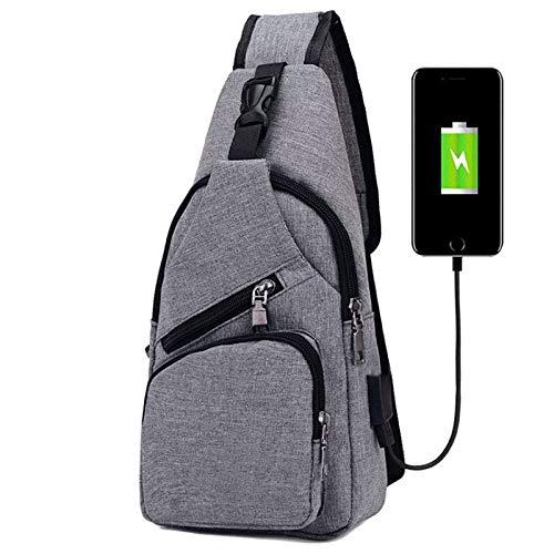 Flintronic Sling Bag  Bolsa de Pecho con Puerto de Carga USB  Crossbody para Hombres