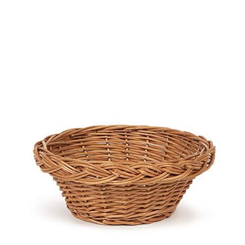 TYSK Design Brotkorb klein (Größe und Form wählbar) 20 cm Durchmesser - Brotkörbchen, Korb geflochten aus Weide, Weidenkorb, Weidenkörbchen