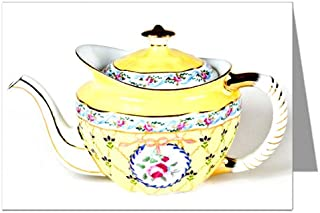 Antique Royal Danube 1886 Yellow Teapot Note card Set