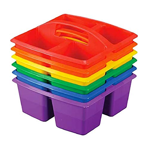 Really Good Stuff Four-Equal-Compartment Caddies, Set of 6, Assorted Colors – Plastic Caddy Organizers with Built-In Handles and Stackable Design, Classroom Storage Made Easy