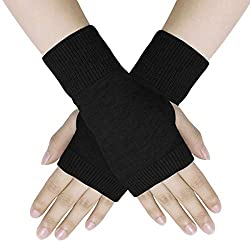Material- Made of Angora Wool and spandex. Soft and stylish, a great accessory to keep your arms warm during cool and cold weather. Thumb hole Gloves- Thumb hole design fingerless arm warmers allows free and easy finger movement. Suitable for office ...