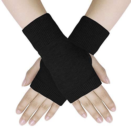 Dokpav Winter Handschuhe Fingerlose Fäustlinge Damen Wolle Warm Fingerhandschuhe Fingerlos Halb Handschuhe Strick Handschuhe Schwarz