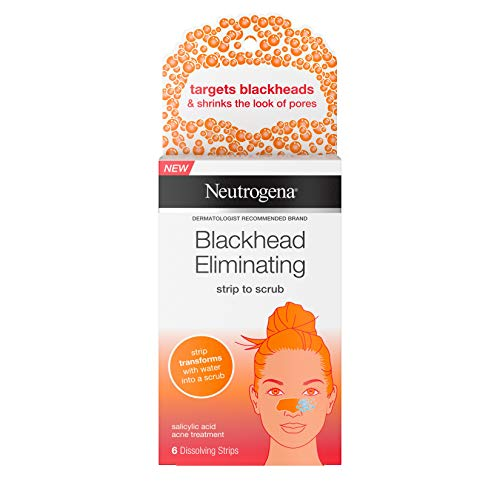 Neutrogena Blackhead Eliminating No-Pull Cleansing Pore Strip to Facial Scrub with Salicylic Acid Acne Treatment Oil-Free & Non-Comedogenic, Gentle, Non-Traditional Pore Strips, 6 ct.