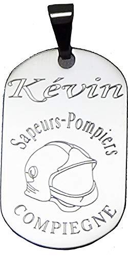 patrickgravure Médaille Acier gravée personnalisée Casque Pompier +Votre prénom et Votre caserne
