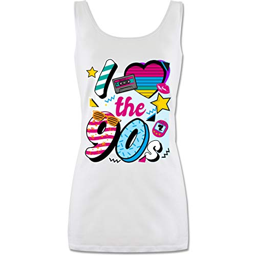 Shirtracer Statement - I Love The 90s bunt - S - Weiß - top 90er - P72 - Tanktop für Damen und Frauen Tops