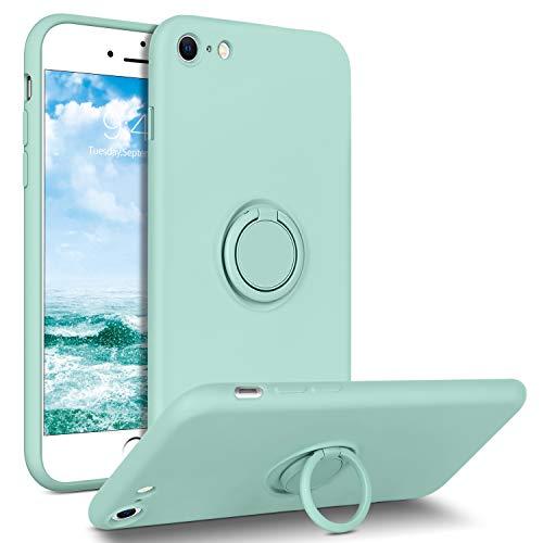 DUEDUE Coque iPhone 8, Coque iPhone 7 avec Anneau iPhone Se 2020 Bague Silicone Flexible Fine Protection Téléphone iPhone 7/8/SE 2020