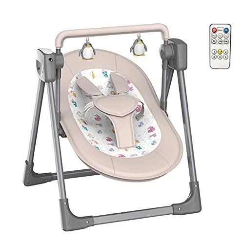 Bujak dla niemowląt-małych dzieci, przenośny fotelik dla dziecka, huśtawka z pięcioma prędkościami Wbudowany pilot do muzyki Zdejmowane zabawki Kompaktowe składanie do przechowywania lub podróży - ł