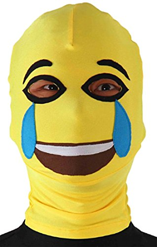 JustinCostume Spandex Emoji Face with Tears of Joy Open Eyes Zentai Hood Mask