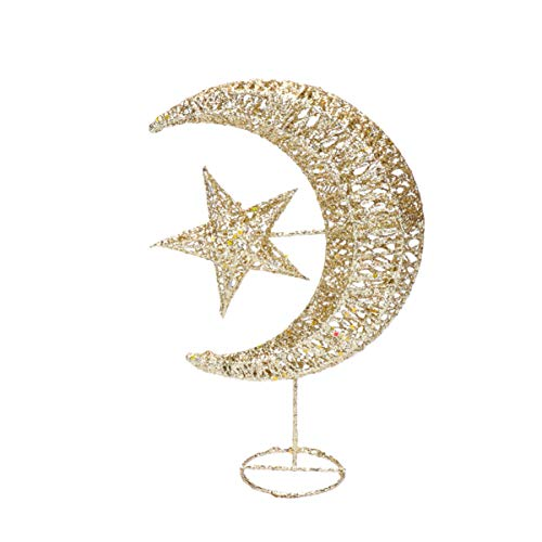 Uonlytech Iron Moon and Star Ornament Glitter Christmas Table Decoration Christmas Tree Decoration Wedding Birthday Holiday Party Supply 20cm (Golden)