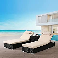 Arebos 2X Poly-Rattan Sonnenliege mit
