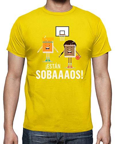 latostadora - Camiseta Estan Sobaaaos para Hombre Amarillo limón M