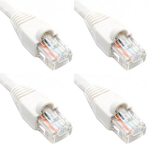 Ultra Spec Kabels Pack van 4 - Wit 2FT Cat6 Ethernet Netwerk Kabel Lan Internet Patchkabel RJ45 Gigabit