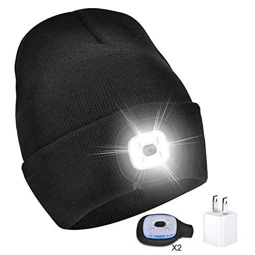 Headlights for Women with 2 USB Rechargeable Light, Led Lights for Men with USB Wall Charger for Dad Mom Hat Light Cap Light Winter Knit Lighted Headlight Headlamp Cap (Black)