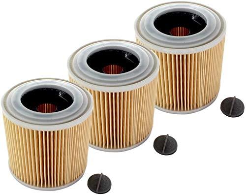 Piezas de repuesto para cortacésped Filtro de cartucho 3x Filtro de cartucho de aspiradora Filtro de cartucho para Karcher WD3 Premium WD2 WD3 MV3 WD2250 WD2500 WD3200 WD3300 Reemplace 6.414-552.0 6.4