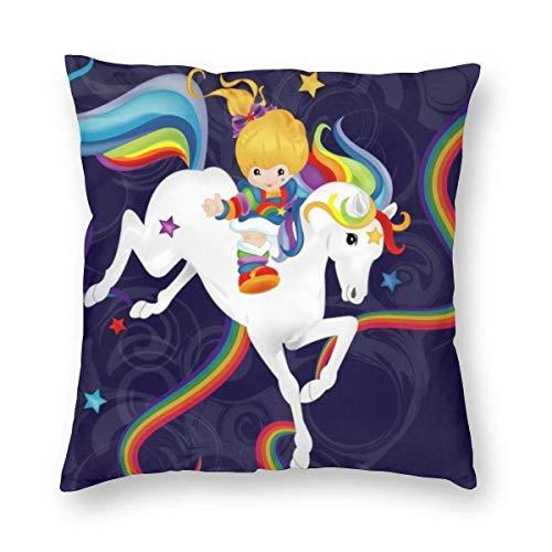 ~ Rainbow Brite and Starlite Memories Home Decor Throw Pillow Cover, Lightweight Soft Plush Square Decorative Pillow Case 18x18 Inch Cushion Cover, Sham Stuffer, Machine Washable