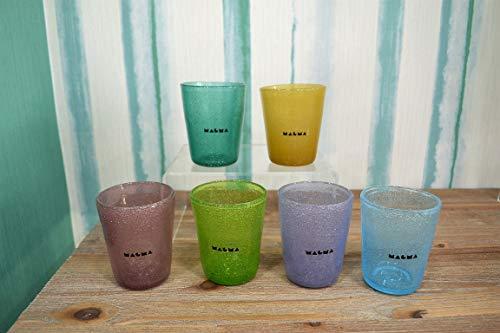 Magma Set 6 Bicchieri Tipo Glassware ML. 260 Forma Tumbler in Pasta di Vetro Colorata SOFFIATI A Bocca.