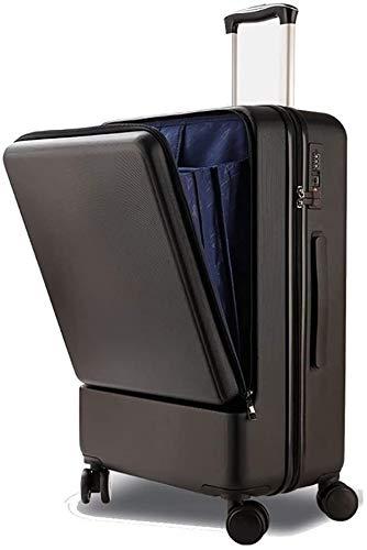 Maleta extendida, con caja de doble rueda de carretilla abierta, maleta de contraseñas de hombres y mujeres Maleta de 24 pulgadas,Black