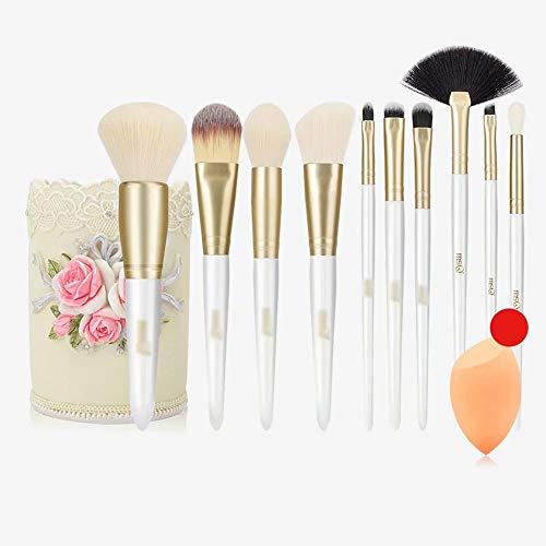 Jeu de pinceaux de Maquillage beauté: Pinceaux de Maquillage avec étui à pinceaux, mixeur et nettoyant beauté