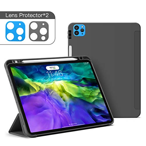 GUDOU for New iPad Pro 11 Case 2nd Generation 2020&2018 with Pencil Holder,Silica Gel+PU case [Supports Apple Pencil Pair & Charging],Trifold Stand Case with Auto Sleep/Wake (Grey)