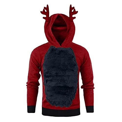 Sudadera con capucha para hombre, diseño navideño 3D, alce, cornamenta, plumas, felpa, con capucha, regalo de Navidad, azul, XL