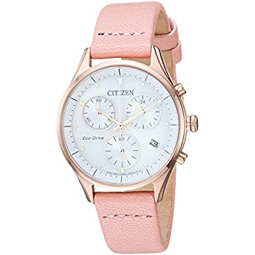 Ladies Citizen Eco-Drive FB1443-08A Chandler Watch with White Dial and Pink Leather Strap