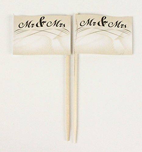 Buddel-Bini Party-Picker Flagge Hochzeit 6 Mr and Mrs Papierfähnchen in Profiqualität 50 Stück Beutel Offsetdruck Riesenauswahl aus eigener Herstellung …