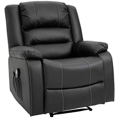 HOMCOM Vibrating Massage PU Leather Recliner Chair, Footrest with...