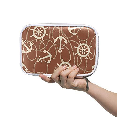 Montoj Federmäppchen mit großer Kapazität, Ruder Anker Make-up-Pinsel Organizer Tasche aus Leder