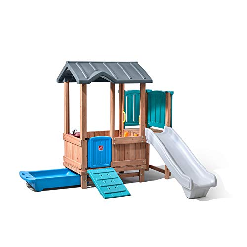 Step2 Woodland Adventure Playhouse & Slide   Kids Wooden Playset with Slide, Brown