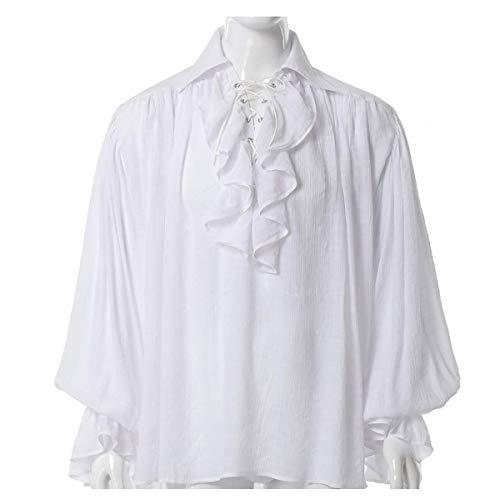 GRACEART Men's Pirate Shirt Costume (White, Medium) steampunk buy now online