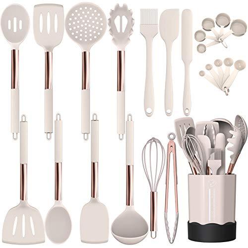 Silicone Cooking Utensil Set Fungun Kitchen Utensils Set with Stainless Steel Handle 24 Pcs Kitchen Gadgets Cookware Set Non-stick Heat Resistant Kitchen Tool Set - Khaki