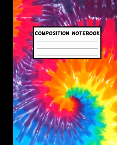 Tie Dye Composition Notebook: Wide-Ruled, 7.5 x 9.25, 100 Pages, For kids, teens, and adults (Composition Notebooks)