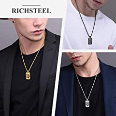 Rotatable Gear Mechanical Style Dog Tag Necklace For Men, Steampunk Style, Wheat Chain(55CM+5CM), Black Plated Stainless Steel Military Jewellery Army Card Pendant Necklace (Gift Packaging), RP20111H #1