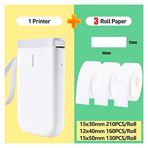 MMD Étiquette Imprimante sans Fil Portable Pocket Label Imprimante Bluetooth Étiquette Imprimante Thermique Rapide Impression Usage Domestique Bureau (Color : D11 3 White Mix)