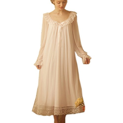 Damen Viktorianisches Nachthemd, lang, durchsichtig, Vintage, Spitze, Nachtwäsche, Netz-Baumwolle - Pink - Medium