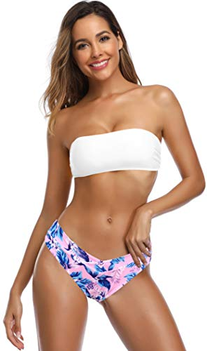 SHEKINI Dames Tweedelige Bikini Set Afneembaar Verstelbaar Schouderband Buis Boven Bikini Bovendeel Elegant Afdrukken Driehoek Bikini Broekje Strand Bikini Badpak