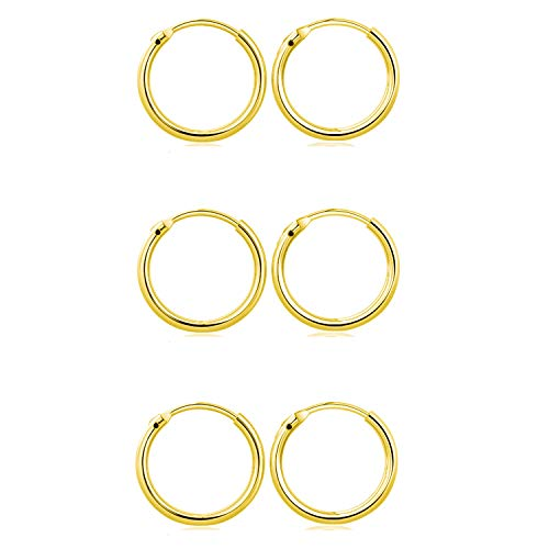 Elicola Set of 3 Pairs of Hoops Earrings in 925 Sterling Silver Vermeil 24K Plated for Women Men Small Round Mini Sleeper Cartilage Earrings Hypoallergenic 8mm, Gold