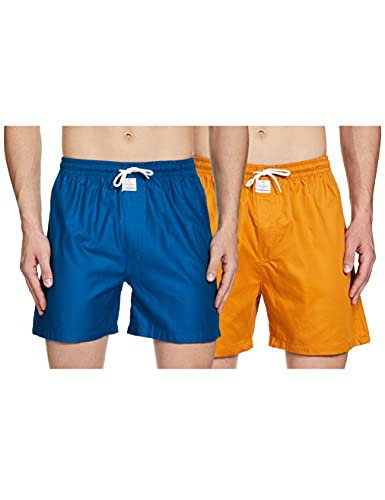 [Apply coupon] HammerSmith Men's 3/4th Fancy Shorts (Pack of 2) Relaxed Cotton Casual (HSBOXPO2M007_Teal,Mustard_Large)