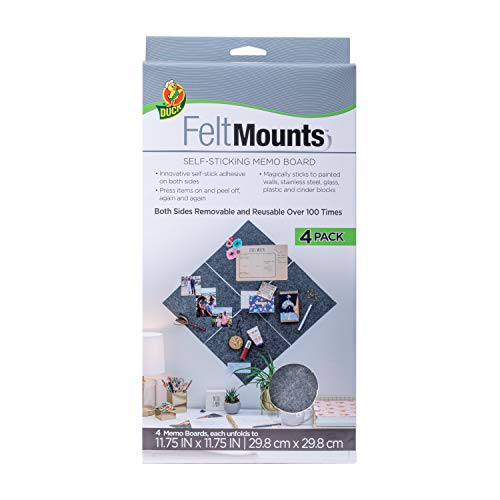 Duck Feltmounts Sticky Memo Board, Reusable, Charcoal Gray, 11.75 x 11.75 Inches, 4-Pack