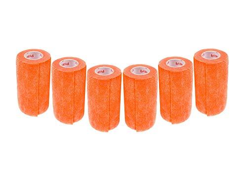 3 inch Medical Wrap Tape Bulk, FDA Approved Self Adherent Adhering Adhesive Stick Power Grip Cling Flex Bandage Rap - 4 inches x 15 Feet - 6 Rolls Orange