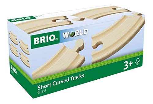 BRIO World 33337 - Short Curved Tracks - 4 Piece Wooden Track Tracks for Kids Ages 3 and Up