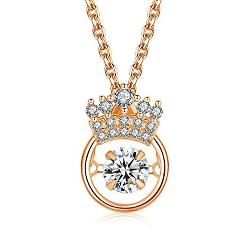 FTIK S925 Crown Sparkling Dance Necklace For Women Girl Durable Elegant Necklace Gifts For Girlfriend(You Are My Queen) A1