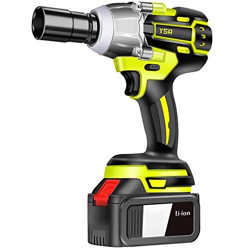 Pistola Impacto Bateria,Destornillador Inalámbrico (Máximo Par 900N.M), Llave de Trinquete, luz LED y adaptador de broca para atornillar,150000H Li-ion