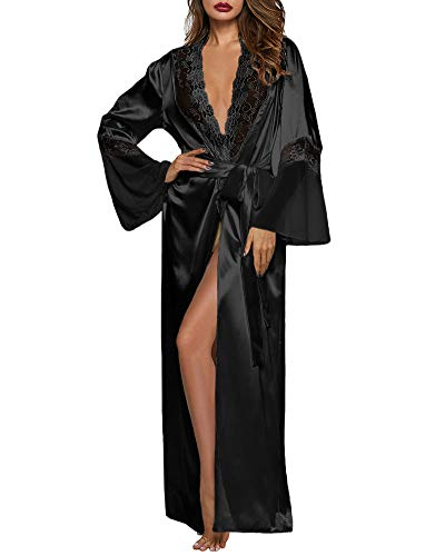 XAKALAKA Womens Long Robe Kimono Satin Gown Lingerie Black L