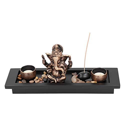Atyhao Quemador de Incienso de Mesa, Elefante Ganesha Zen Jardín Rocas Quemador de Incienso Budismo Candelabro Soporte de Incienso Tronco de Elefante Dios de la Riqueza Decoración de Restauran