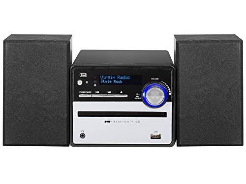 Trevi HCX 10D6 DAB Stereo Hi-Fi con Ricevitore Digitale DAB DAB+, Display Alfanumerico LCD, Bluetooth, CD, Mp3, USB, AUX-IN, Auto-Memory, Orologio, Telecomando Full Function