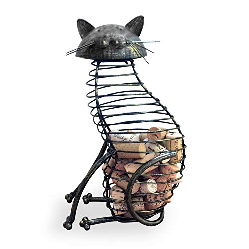 Wine Cork Holder - A Decorative Wine Cork Holder Wine Barrel in The Shape of a Elegant Metal Cat - for cat and Wine Lovers! Great for Wine Corks