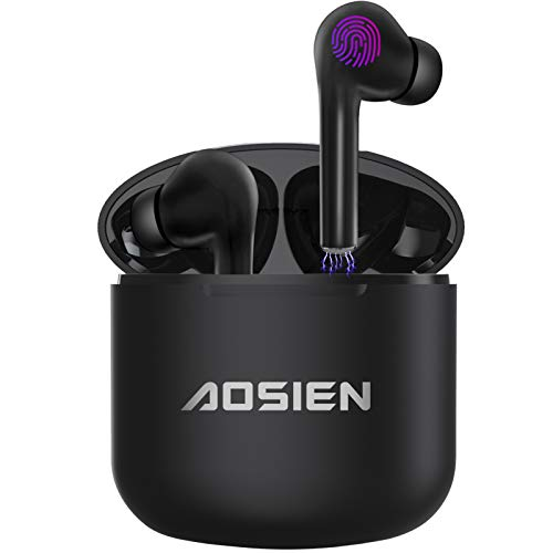 Écouteur Bluetooth Aoslen Écouteurs sans Fil in Ear 5.0 Contrôle Tactile Playtime Intégré Double Micro/Stéréo HiFi avec Étui de Chargement pour iOS Android Samsung Huawei