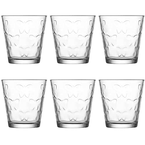UNISHOP Set de 6 Vasos de Agua y Bebidas Alcohólicas, Vasos de Cristal Transparentes de 255ml, Aptos para Lavavajillas