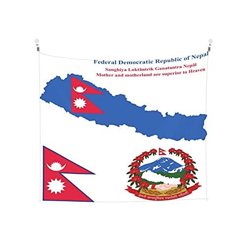 Nepal-Flagge Tapisserie Wandbehang Tarot Boho Beliebte Mystic Trippy Yoga Hippie Wandteppiche für Wohnzimmer Schlafzimmer Wohnheim Heimdekor Schwarz & Weiß Stranddecke